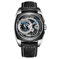 Reef Tiger RGA3319 Fashion Sport Watch Genuine Leather Band Mens Waterproof Automatic Seld wind Wrist Watch Black