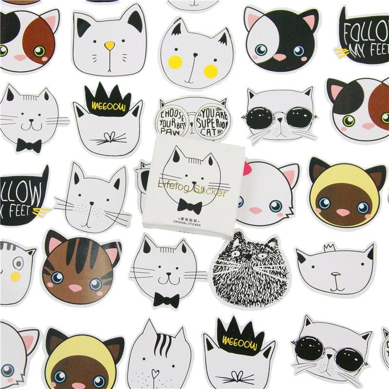 45 Pcs/lot Cute Cat Head Mini Paper Sticker Decoration DIY Album Diary Scrapbooking Label Sticker Kawaii Stationery