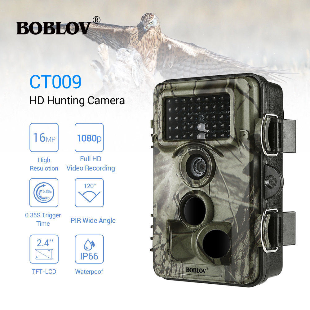 цена на BOBLOV CT009 Hunting Camera 16MP Trail Camera Farm Security Wild Cameras IR Night Vision Photo Traps IP66 Cam Device For Hunting