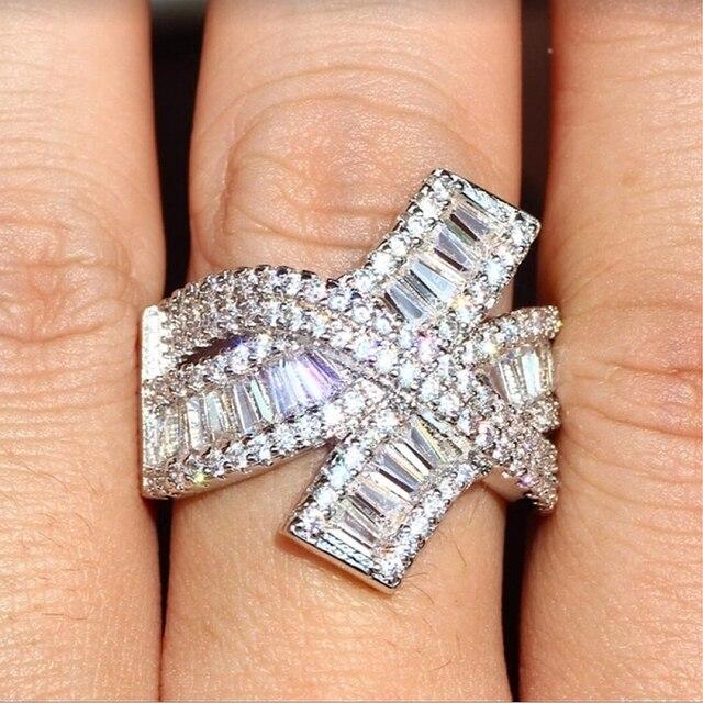 Luxus Blingbling Cubic Zirkon Finger Ring Räumliche Vintage Kreuz Welle Hochzeit Finger Ring Party Datum Weihnachten Schmuck