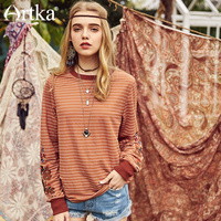 ARTKA Early Spring New Floral Embroidery Striped Sporty Retro Female Casual T shirt Full Sleeve O neck Loose T shirt TA10182C
