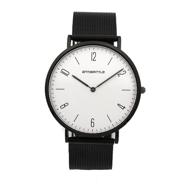 Quartz Black Luxury Minimalist Watch Women Super Thin Men Leather Stainless Steel Magnet Strap Wristwatch Hand Antibrittle 6mm
