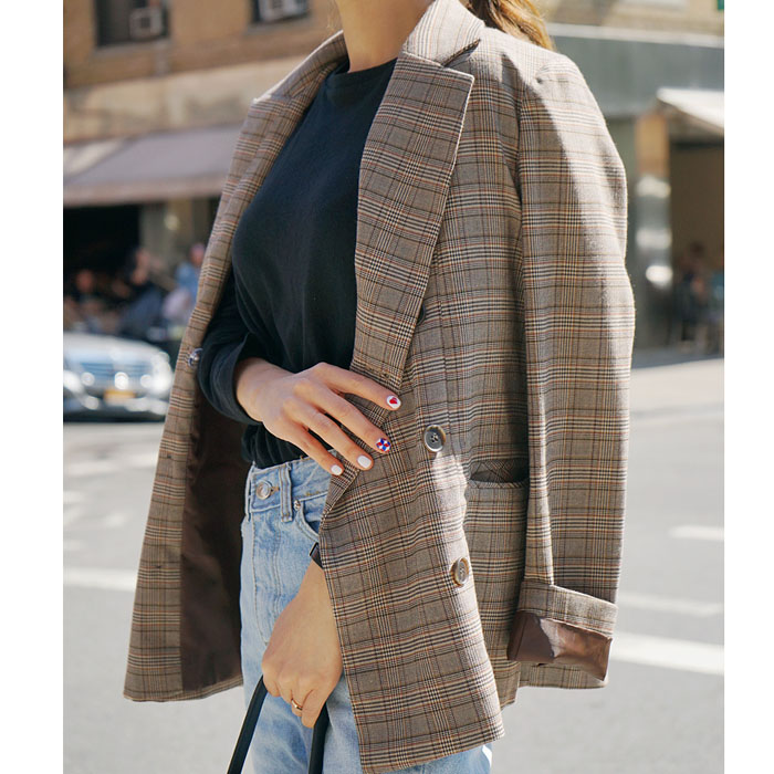 2018 spring Korean version of the British retro coffee lattice loose was thin short jacket blouse small suit