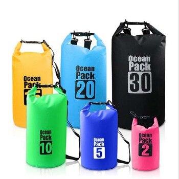 PVC Waterproof Dry Bag 5L 10L 20L 30L Outdoor Diving Foldable Storage Man Women Beach Swimming Bag Rafting River Ocean backpack 1