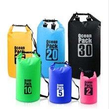 Водонепроницаемая сухая сумка из ПВХ 5L 10L 20L 30L наружная складная сумка для дайвинга Мужская Женская пляжная сумка для плавания рафтинг речной океан рюкзак
