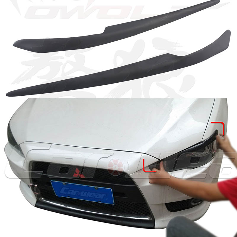 EVO FRP Primer Car Headlamp Eyelid Eyebrows Cover Trim Sticker For Mitsubishi Lancer Evo 2008-2014 double celebration of finishing the cracks movable side refrigerator kitchen corner shelf plastic three shelves 1064
