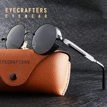 Preto metal preto polarizado redondo óculos de sol dos homens gótico steampunk óculos de sol das mulheres moda retro vintage polaroid eyewear