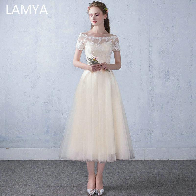 LAMYA Short Lace Sleeve Tea Lenght Evening Dresses Women 2019 Tulle A Line Evening Party Dress Cheap Plus Size Vestido De Festa