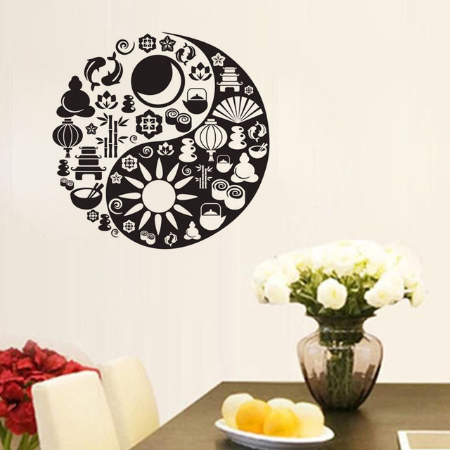Yin Yang Symbol Kitchen Wall Stickers Chinese Philosophy Stickers ...