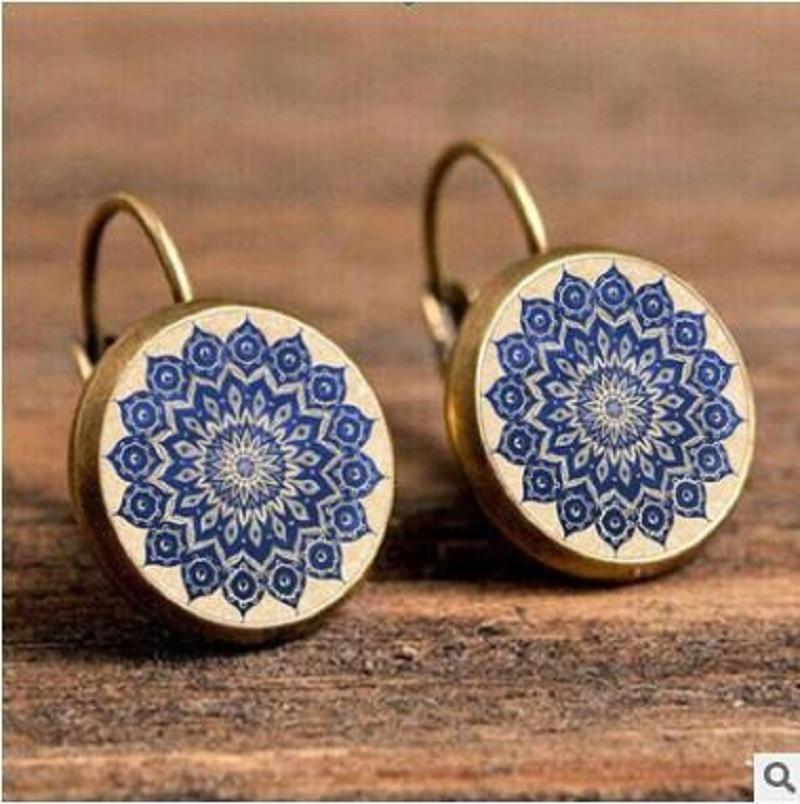 Exknl Boho Flower Drop Earrings For Women Vintage Jewelry Geometric Pattern Round Earings Bijoux boucles d'oreilles bohemia 15