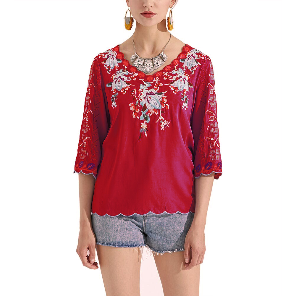 Embroidery Bohemian Women Shirt Blouse Three Quarter Sleeve V Neck Sexy Summer Tops Blouses Elegant Loose Shirts Femme in Blouses amp Shirts from Women 39 s Clothing
