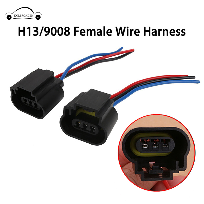 H13 9008 Adapter Headlight Female Wire Cable Harness