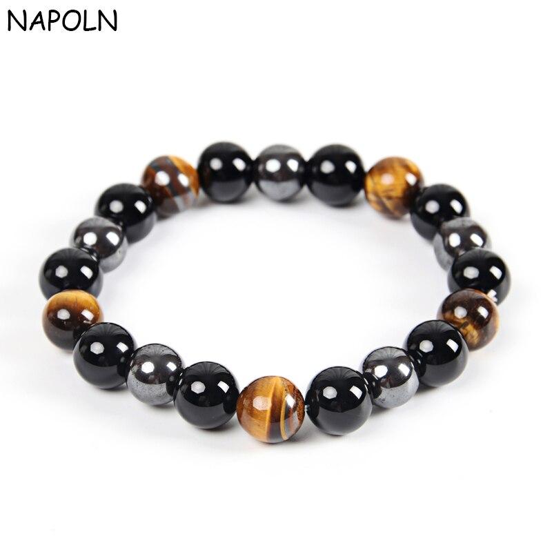 NAPOLN Для мужчин Браслеты браслет Натуральный камень Браслеты для Для женщин 10 мм тигровый глаз и гематита и черный обсидиан Натуральный камень браслет