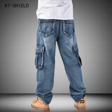 New Men Hip-Hop Biker Jeans Mens Fashion Skateboard Baggy Relaxed Denim Overalls Men Casual Multi-pocket Pants Large Size 30-46
