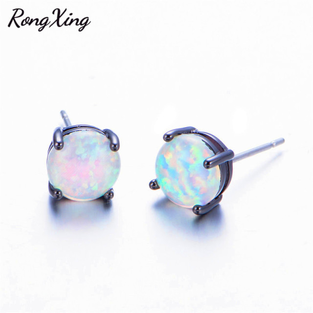 fire product opal rose watches white plated stud free jewelry earrings gold crown square