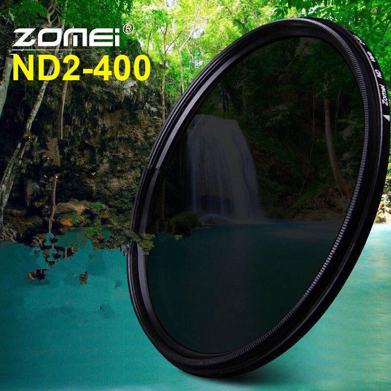 Zomei 49mm 52mm 55mm 58mm 62mm 67mm 72mm 77mm 82mm variable fader nd filtro de densidad neutra ND2-400 lente filtro para Canon Nikon