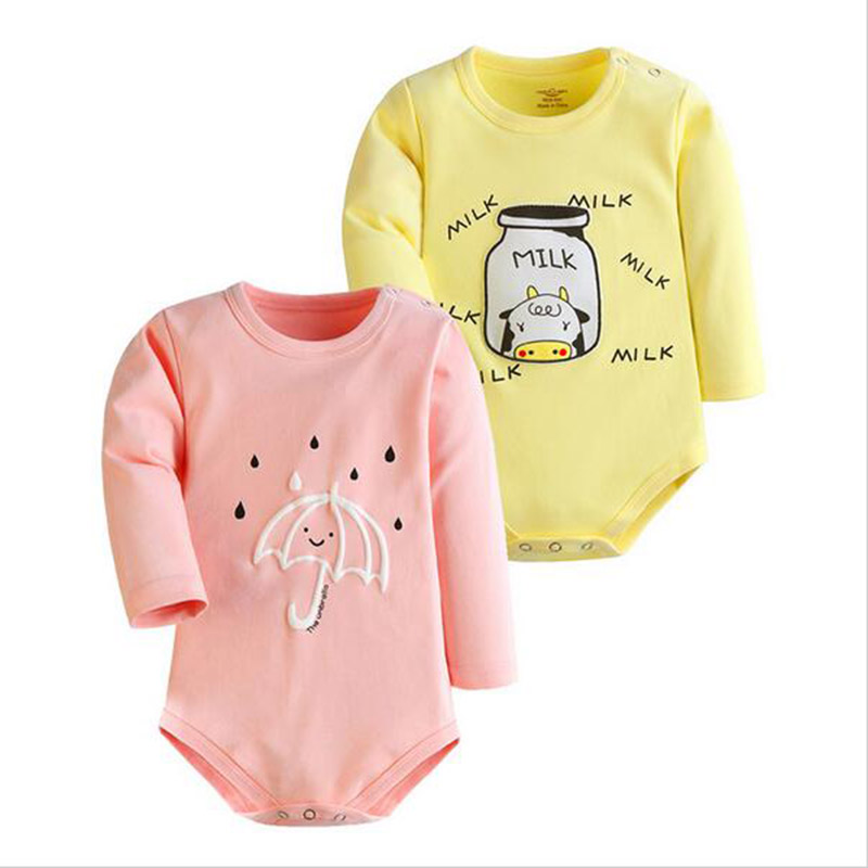 2pcs/lot 2017 Winter Baby Rompers Newborn Infant Cotton Long Sleeve Jumpsuits Baby Boys Girl Clothing Cartoon Clothes Wear newborn winter autumn baby rompers baby clothing for girls boys cotton baby romper long sleeve baby girl clothing jumpsuits