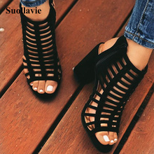 Suollavie 2019 Woman Shoes High Heels Gladiator Sandals Flock Open Toe Back Zipper Summer Spring/Autumn Sexy Ladies Party Shoes недорого