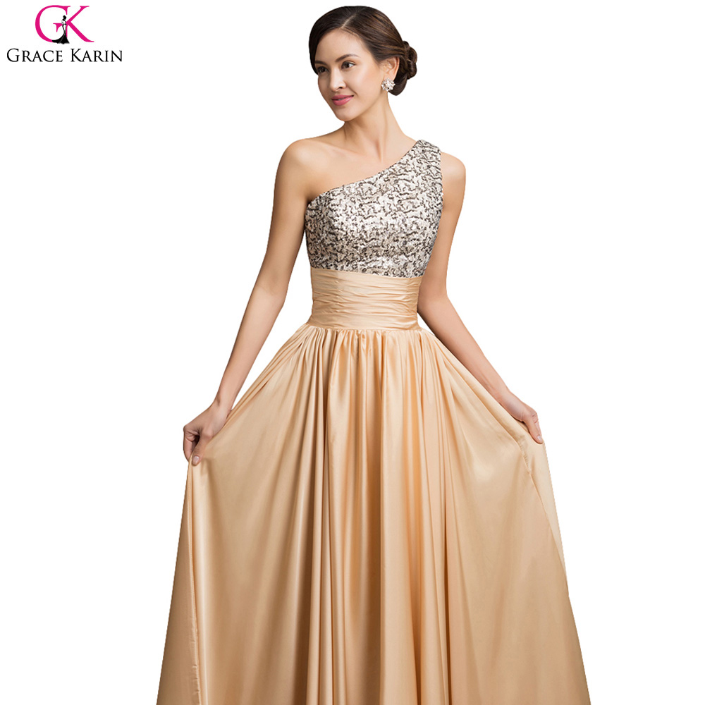 afa6139da7 Grace Karin A Line One Shoulder Evening Dresses Sequin Gold Prom Dress  Zipper Floor Length Pleats Formal Chiffon Evening Gowns-in Evening Dresses  from ...