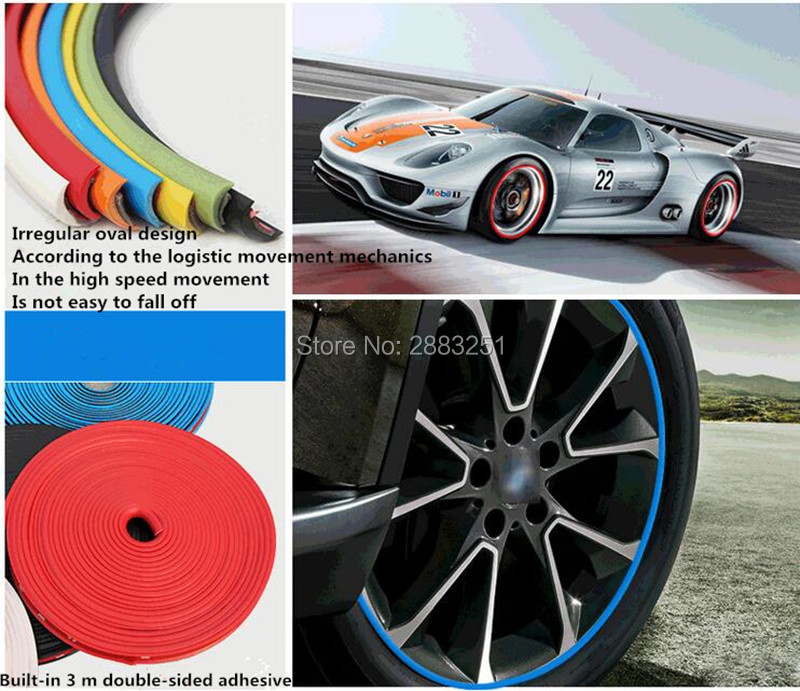 8M Car Styling Car <font><b>Wheel</b></font> Hub Sticker Decorative Strip for <font><b>Peugeot</b></font> 307 308 207 3008 2008 407 508 206 208 <font><b>406</b></font> 4008 408 Accessories image