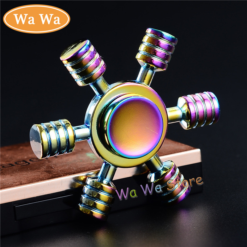 Rainbow Hexagon EDC Fidget Spinner Metal Hand Spinner for Autism and ADHD Relief Focus Anxiety Stress