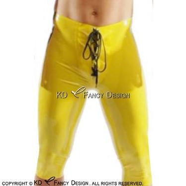 Sexy látex boxer shorts com única listra em dois lados e laço na frente de borracha menino shorts cueca calças DK 0147 - 2