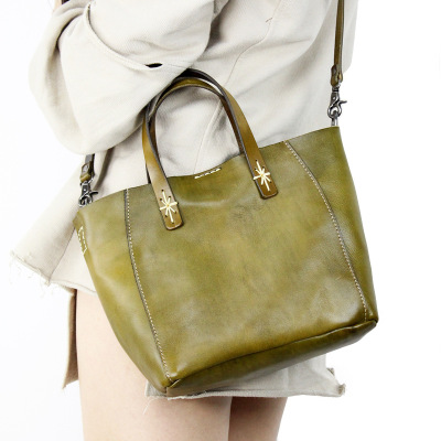 2018 spring genuine leather tote bag for women vintage first layer of cowhide casual one shouler bag lady brief solid color bag ladylike women s tote bag with solid color and daisy embossing design