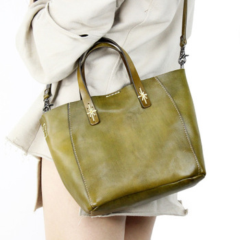 2018 spring genuine leather tote bag for women vintage first layer of cowhide casual one shouler bag lady brief solid color bag