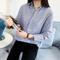 Nova Camisa Listrada Blusa Mulheres Coreano Casual Light Blue Manga Comprida Moda Roupa Chemise Femme