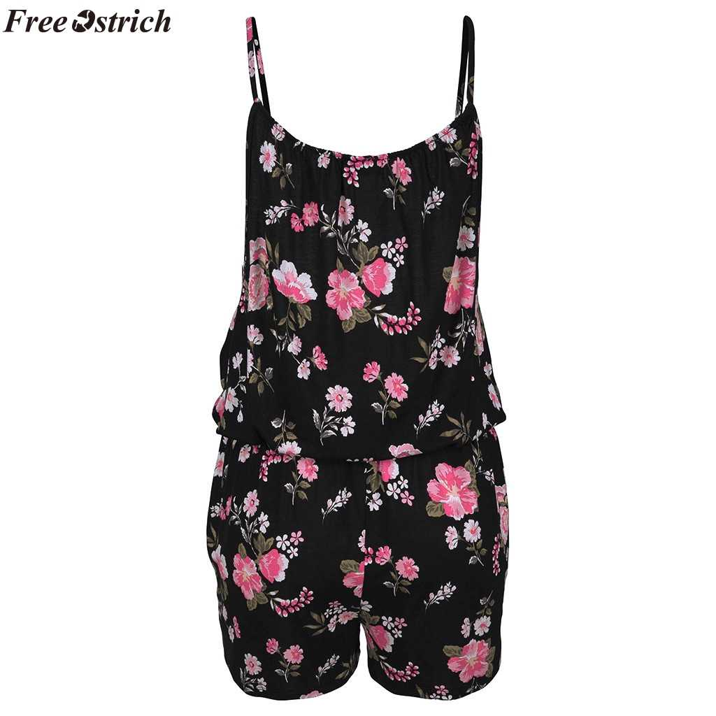 Gratis Struisvogel Vrouwen Zomer Sling Korte Jumpsuits O-hals Mode Printeddies Strand Casual Backless Slim Rompertjes Plus Size