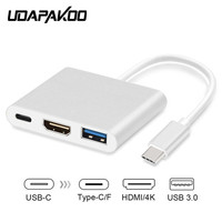 Tipo C A HDMI USB 3.0 Convertidor de Carga USB-C 3.1 Digital AV Adaptador Multipuerto Para Nuevo Macbook Air Pro Mac Samsung S8 + Plus