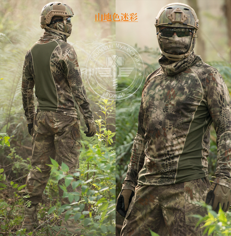 Kryptek Typhon Shirt For Men Outdoor Tactical Camouflage Long Sleeve T-shirt with Neckwear Camping Hunting Shirt 건달 조폭 옷