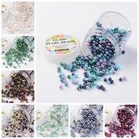 4 ~ 4.5 ملليمتر الزجاج اللؤلؤ فضفاض مجوهرات الخرزة مجموعة ، الكرمل مزيج البيئي جولة ، مصبوغ لون مختلطة ، ثقب: 0.7 ~ 1 ملليمتر. حوالي 1000 قطعة/صندوق.