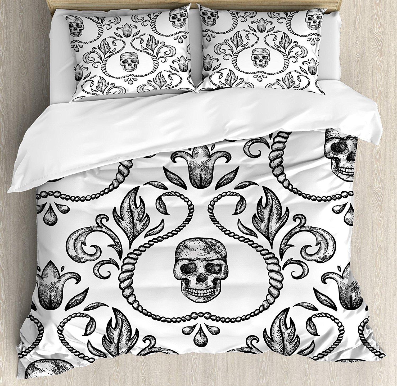 Готический Декор постельное белье орнамент с череп гот Скелет цветочный Дизайн в стиле барокко Стиль иллюстрация 4 шт. Постельное белье