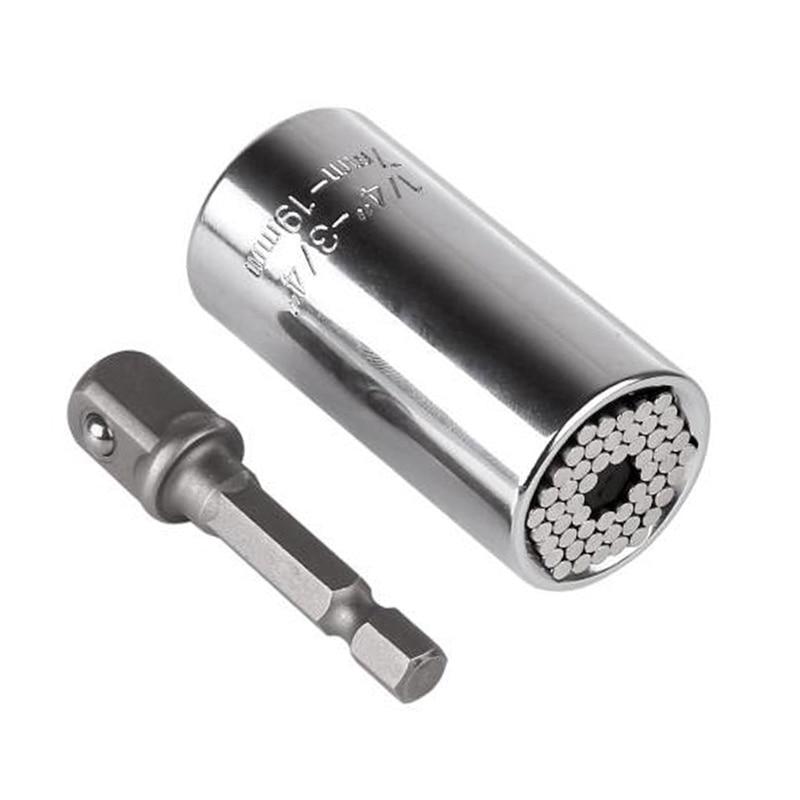 Universal Torque Wrench Head Set Socket Sleeve 7-19mm Power Drill Ratchet Bushing Spanner Key Gator Magic Grip Multi Hand Tools 12pcs professional fixed head spanners ratchet wrench socket spanner set 8 19mm