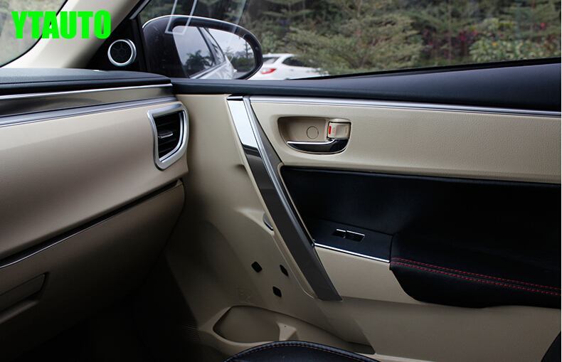 Accessoires intérieurs Auto accoudoir garniture porte décoration de poignée pour Toyota Corolla 2014 2015 8 pièces  acier inoxydable  style de voiture|trim door|trim handle|trim car - title=