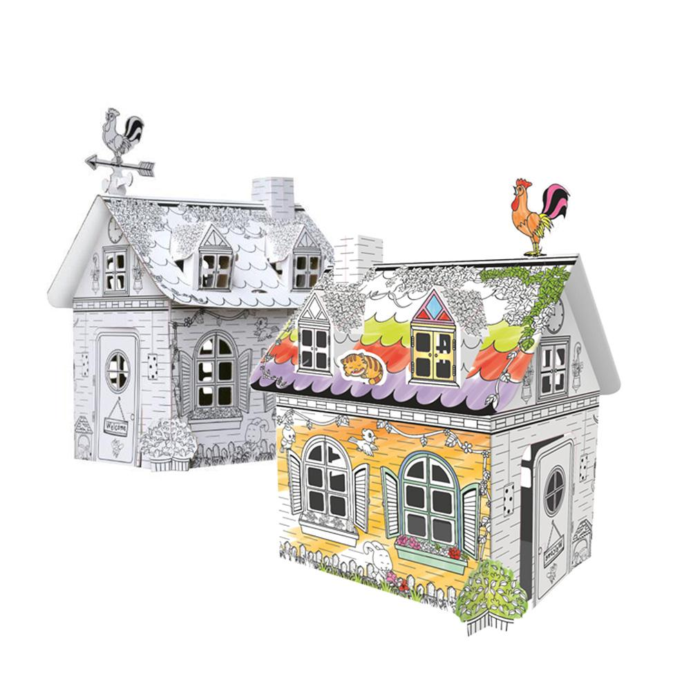 Hand Painted Early Educational Toys 3D Graffiti House Origami Paper Toys Childhood Kindergarten Colorful House Toy Birthday Gift