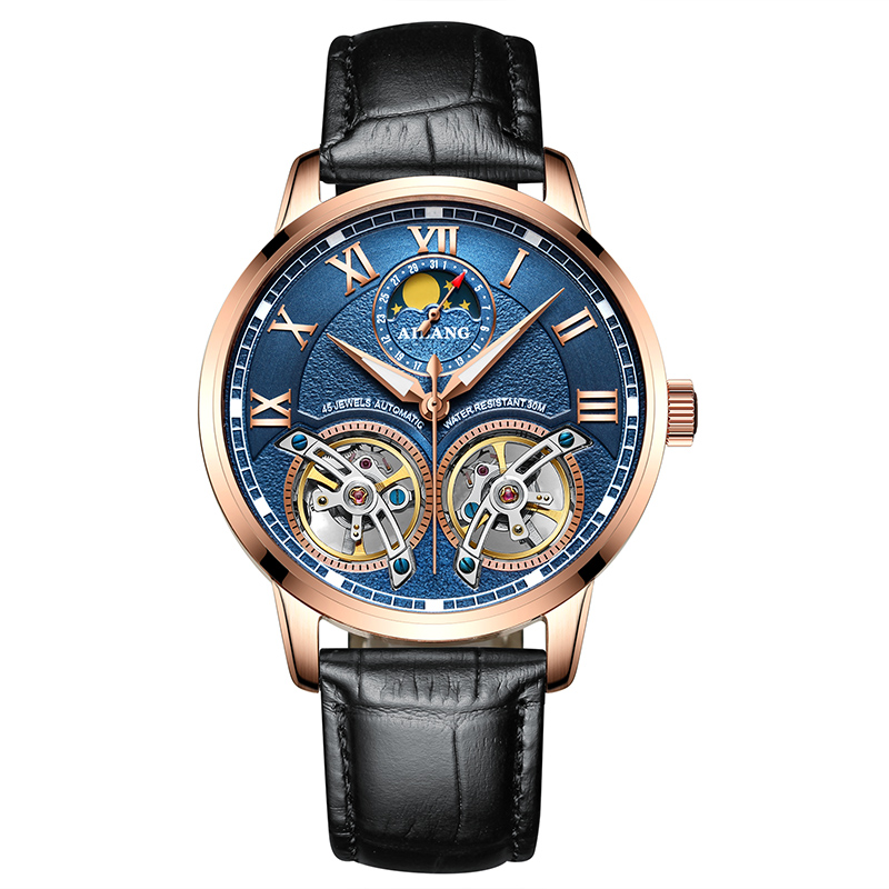 AILANG 8221A Switzerland watches men luxury brand Automatic Double Tourbillon Moon phase Luminous Casual Business Watch Fashion ailang 8221a switzerland watches men luxury brand automatic double tourbillon moon phase hollow business watch relogio masculino