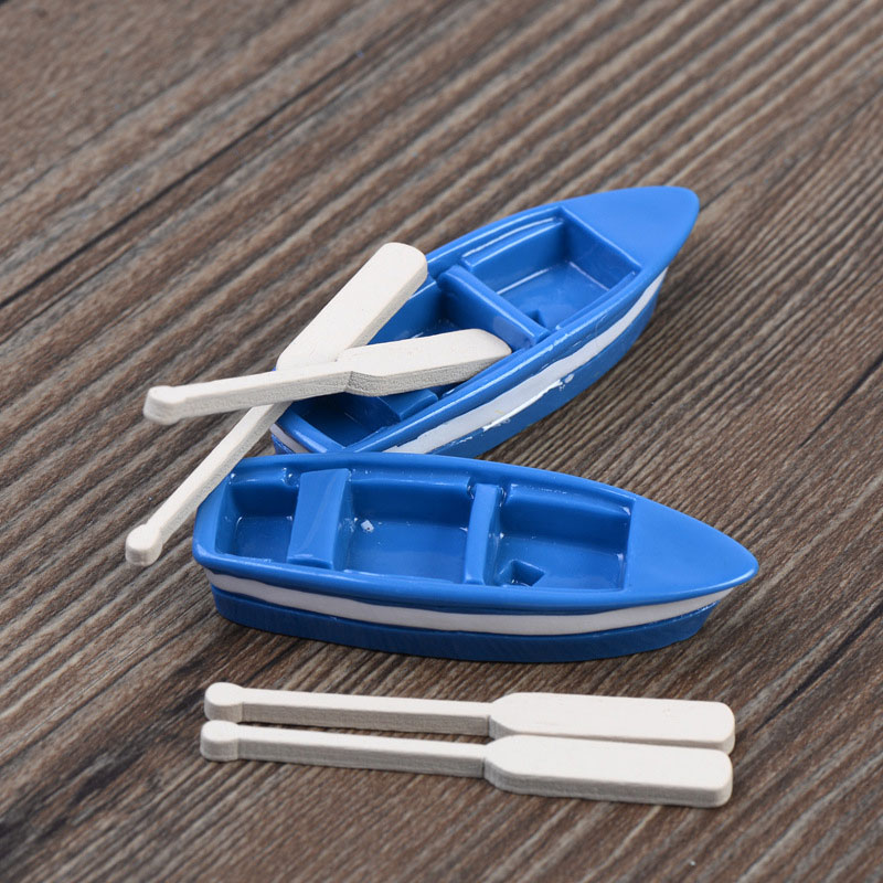 Mediterranean Mini Boat 1 2 Oars And Oar For DIY Fairy Garden Port Accessories Decorative Miniatures Micro Landscape Toys In Figurines