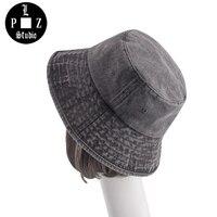 PLZ Için Vintage Yıkanmış Pamuk Kova Şapka Kadın Erkek Retro Moda Kış Havza Kap Katlanabilir Balıkçılık Kap