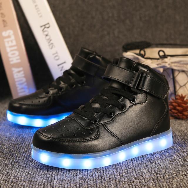 Свет Обувь Gold High Top девочек и мальчиков Luces Dorado Мода USB зарядка Красный Дети Повседневное светящиеся кроссовки для детей