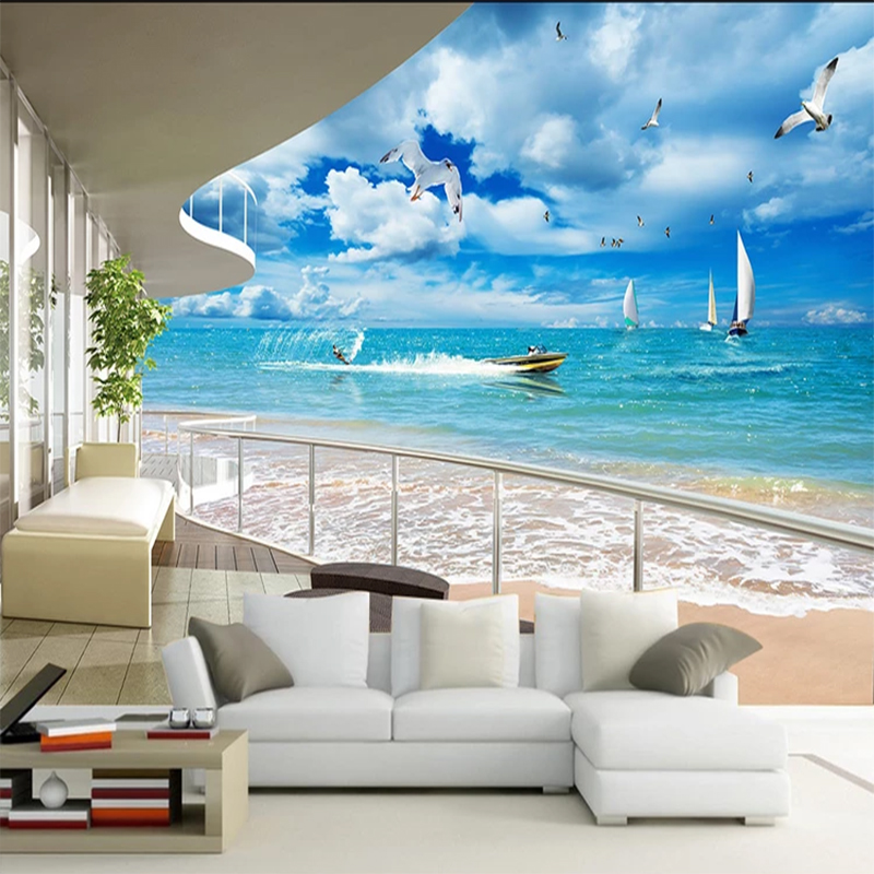 Custom 3D Mural Mediterranean Modern Balcony Sea Blue Sky Mural Sofa Living Room Background Decoration Pictures Wallpaper Roll