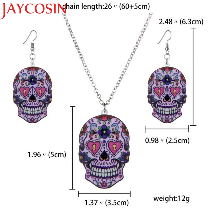 earring 3pcs Vintage Printing Skull Pendant Necklace Earrings Jewelry Set earrings 2018 0713