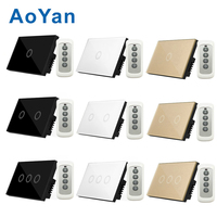 AoYan US Standard 110 220V 1 Gang 2 Gang 3 Gang 1way Remote Control Touch Switches