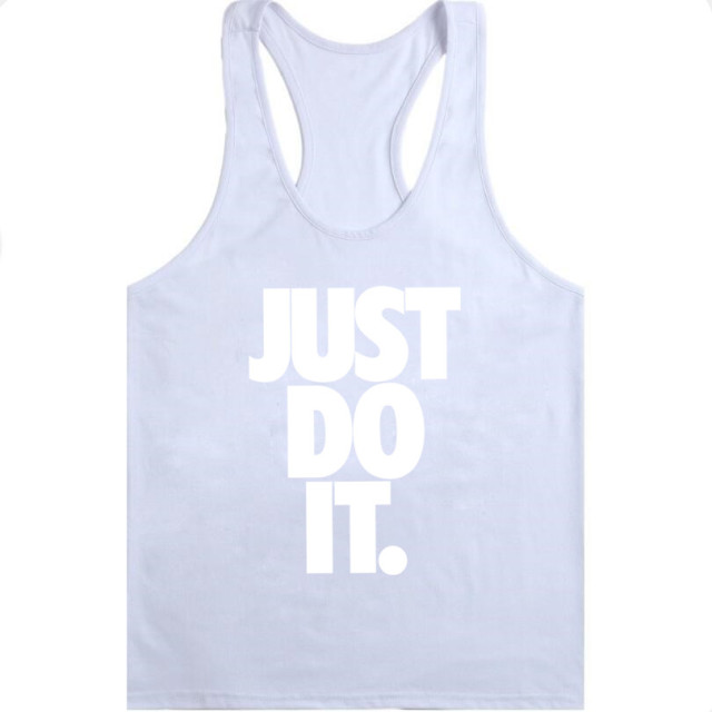 Men Stringer Golds Bodybuilding Muscle JUST DO IT  Workout Vest gyms Undershirt Letter Printed O-Neck Tank Top