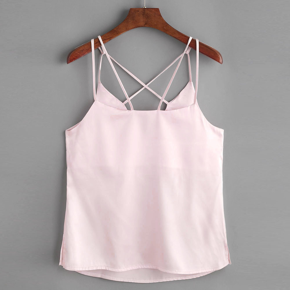 Oversized Women Crop Top Sexy Lady Sleeveless Backless Cross Vest Shirts Womens Loose Casual Summer Tops Camis Pink Blusa #YL