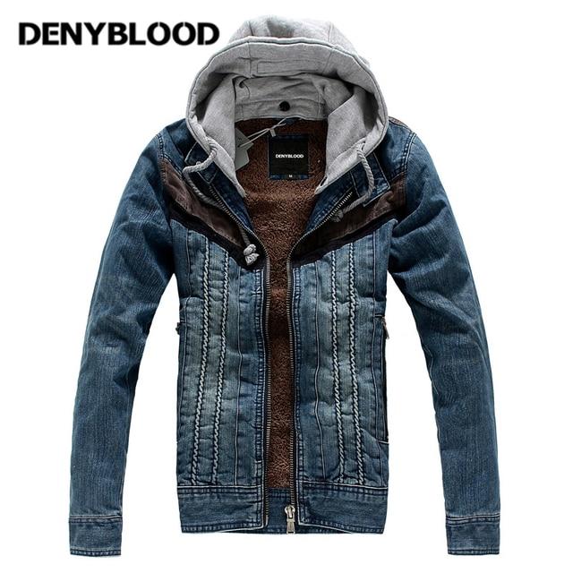 Denyblooy Jeans Winter Popular Denim Jacket Men Hooded Coat Mens Velvet  Warm Casual Male Jeans Jackets