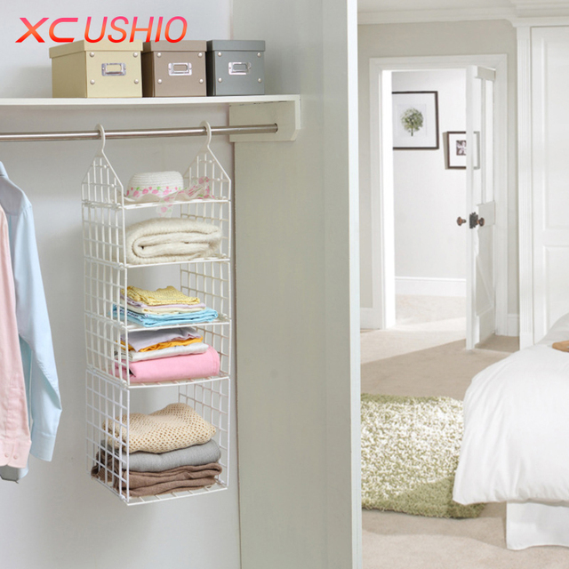 Xc ushio folding wardrobe clothes storage rack hooks home plastic closet storage shelves hanging closet shelves