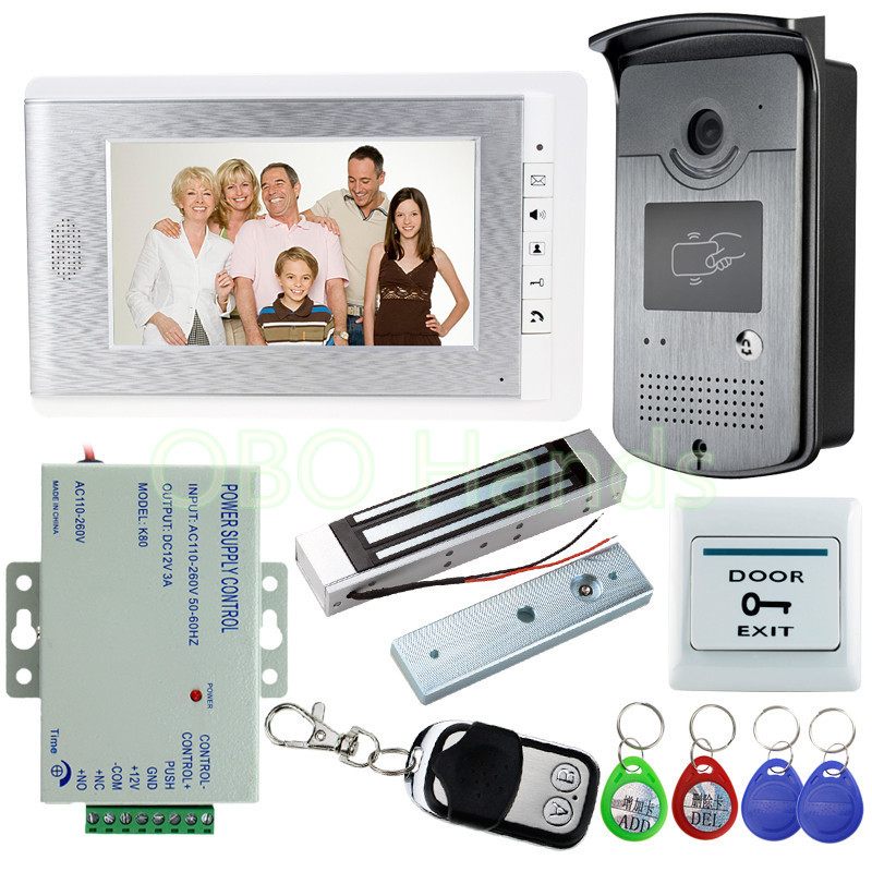 7'' Color Video Door Phone Intercom RFID Camera with Monitor + 180KG Magnetic Lock+Remote Control for Door Home Entry System x6 rfid door entry system 180kg magnetic lock and u bracket for glass door