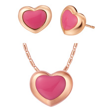 Luxury Women's Necklace Ring Earrings Jewelry Sets UA  new   pink round suit made popular suit